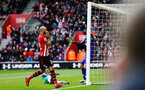 SOUTHAMPTON, ENGLAND - MARCH 09:  a near miss for Nathan Redmond of Southampton (left) during the Premier League match between Southampton FC and Tottenham Hotspur at St Mary's Stadium on March 09, 2019 in Southampton, United Kingdom. (Photo by James Bridle - Southampton FC/Southampton FC via Getty Images)