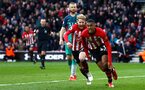 SOUTHAMPTON, ENGLAND - MARCH 09:  LtoR Josh Sims, Yan Valery run to celebrate after Yan Valery scores during the Premier League match between Southampton FC and Tottenham Hotspur at St Mary's Stadium on March 09, 2019 in Southampton, United Kingdom. (Photo by James Bridle - Southampton FC/Southampton FC via Getty Images)