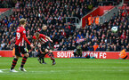 SOUTHAMPTON, ENGLAND - MARCH 09:  James Ward-Prowse of Southampton  (middle) scores from a free kick position during the Premier League match between Southampton FC and Tottenham Hotspur at St Mary's Stadium on March 09, 2019 in Southampton, United Kingdom. (Photo by James Bridle - Southampton FC/Southampton FC via Getty Images)