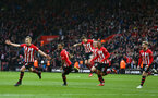 SOUTHAMPTON, ENGLAND - MARCH 09:  LtoR James Ward-Prowse scores and celebrates (left) with Ryan Bertrand, Jan Bednarek, Pierre-Emile Hojbjerg, Yan Valery, Josh Sims during the Premier League match between Southampton FC and Tottenham Hotspur at St Mary's Stadium on March 09, 2019 in Southampton, United Kingdom. (Photo by James Bridle - Southampton FC/Southampton FC via Getty Images)