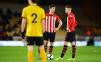WOLVERHAMPTON, ENGLAND - MARCH 05:  Tom O'Connor  and Will Smallbone line up for a free kick during the PL2 U23's match between Wolverhampton Wanders and Southampton FC at Molineux Stadium in Wolverhampton, England, on March 05, 2019 (Photo by James Bridle - Southampton FC/Southampton FC via Getty Images)
