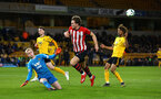 WOLVERHAMPTON, ENGLAND - MARCH 05:  Sam Gallagher (middle) near miss during the PL2 U23's match between Wolverhampton Wanders and Southampton FC at Molineux Stadium in Wolverhampton, England, on March 05, 2019 (Photo by James Bridle - Southampton FC/Southampton FC via Getty Images)