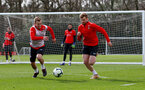 SOUTHAMPTON, ENGLAND - MARCH 13: James Ward-Prowse(L) and Stuart Armstrong during a Southampton FC training session at the Staplewood Campus on March 13, 2019 in Southampton, England. (Photo by Matt Watson/Southampton FC via Getty Images)