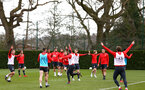 SOUTHAMPTON, ENGLAND - MARCH 13: players celebrate together after winning a training tournament during a Southampton FC training session at Staplewood Complex on March 13, 2019 in Southampton, England. (Photo by James Bridle - Southampton FC/Southampton FC via Getty Images)