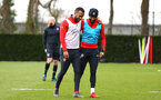 SOUTHAMPTON, ENGLAND - MARCH 13: LtoR Ryan Bertrand, Nathan Redmond during a Southampton FC training session at Staplewood Complex on March 13, 2019 in Southampton, England. (Photo by James Bridle - Southampton FC/Southampton FC via Getty Images)