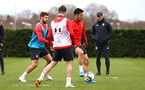 SOUTHAMPTON, ENGLAND - MARCH 13: Maya Yoshida (right) challenged by Jack Stephens (left) during a Southampton FC training session at Staplewood Complex on March 13, 2019 in Southampton, England. (Photo by James Bridle - Southampton FC/Southampton FC via Getty Images)