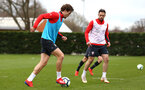SOUTHAMPTON, ENGLAND - MARCH 13: Sam Gallagher (left) s018 (right) during a Southampton FC training session at Staplewood Complex on March 18, 2019 in Southampton, England. (Photo by James Bridle - Southampton FC/Southampton FC via Getty Images)