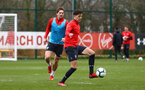 SOUTHAMPTON, ENGLAND - MARCH 13: LtoR Sam Gallagher, Alfie Jones during a Southampton FC training session at Staplewood Complex on March 18, 2019 in Southampton, England. (Photo by James Bridle - Southampton FC/Southampton FC via Getty Images)