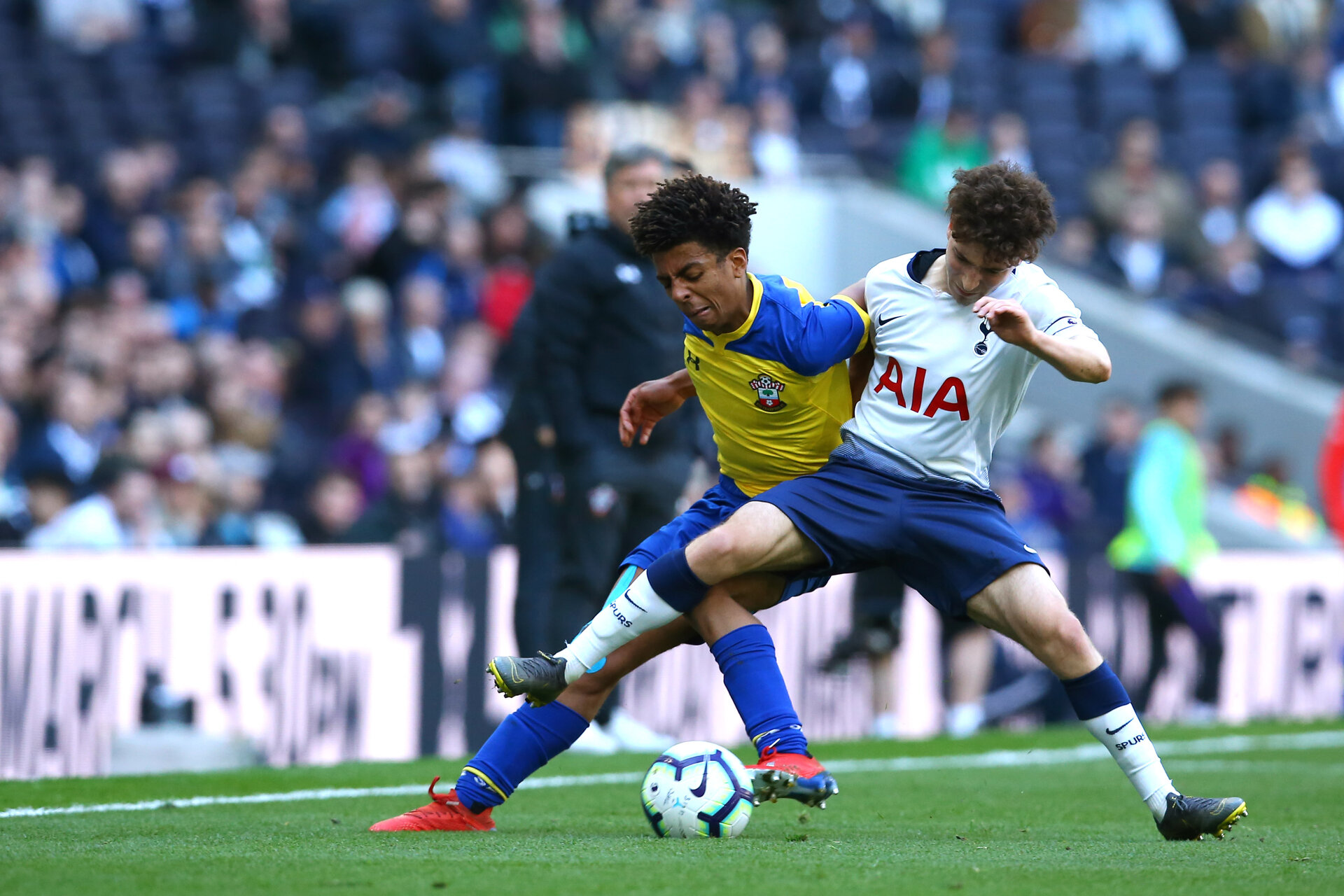 LONDON, ENGLAND - MARCH 24:  during the U18s Premier League match between Tottenham Hot Spur and Southampton FC at Tottenham Hotspur Stadium on March 24, 2019 in London, England. (Photo by James Bridle - Southampton FC/Southampton FC via Getty Images)