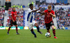 BRIGHTON, ENGLAND - MARCH 30: Stuart Armstrong(R) of Southampton and Yves Bissouma of Brighton & Hove Albion during the Premier League match between Brighton & Hove Albion and Southampton FC at American Express Community Stadium on March 30, 2019 in Brighton, United Kingdom. (Photo by Matt Watson/Southampton FC via Getty Images)