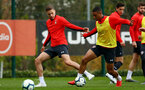 SOUTHAMPTON, ENGLAND - APRIL 02: Jan Bednarek(L) and Yan Valery during a Southampton FC training session at the Staplewood Campus on April 02, 2019 in Southampton, England. (Photo by Matt Watson/Southampton FC via Getty Images)