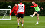 SOUTHAMPTON, ENGLAND - APRIL 02: Oriol Romeu(L) and Pierre-Emile Hojbjerg during a Southampton FC training session at the Staplewood Campus on April 02, 2019 in Southampton, England. (Photo by Matt Watson/Southampton FC via Getty Images)