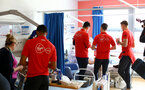 SOUTHAMPTON, ENGLAND - APRIL 17: Players meet patients of  Southampton General Hospital pictured on April 17, 2019 in Southampton, England. (Photo by James Bridle - Southampton FC/Southampton FC via Getty Images)