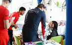 SOUTHAMPTON, ENGLAND - APRIL 17: Ralph Hasenhuttl (Middle) of Southampton FC visits Southampton General Hospital pictured with patients and staff on April 17, 2019 in Southampton, England. (Photo by James Bridle - Southampton FC/Southampton FC via Getty Images)