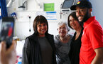 SOUTHAMPTON, ENGLAND - APRIL 17: Nathan Redmond (right) of Southampton FC visits Southampton General Hospital pictured with patients and staff on April 17, 2019 in Southampton, England. (Photo by James Bridle - Southampton FC/Southampton FC via Getty Images)