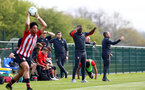 WEST BROMWICH, ENGLAND - APRIL 18: Radhi Jaidi and Paul Buckle during the Under 23s PL2 match between West Bromwich and Southampton FC pictured on April 18, 2019 in West Bromwich, England. (Photo by James Bridle - Southampton FC/Southampton FC via Getty Images)