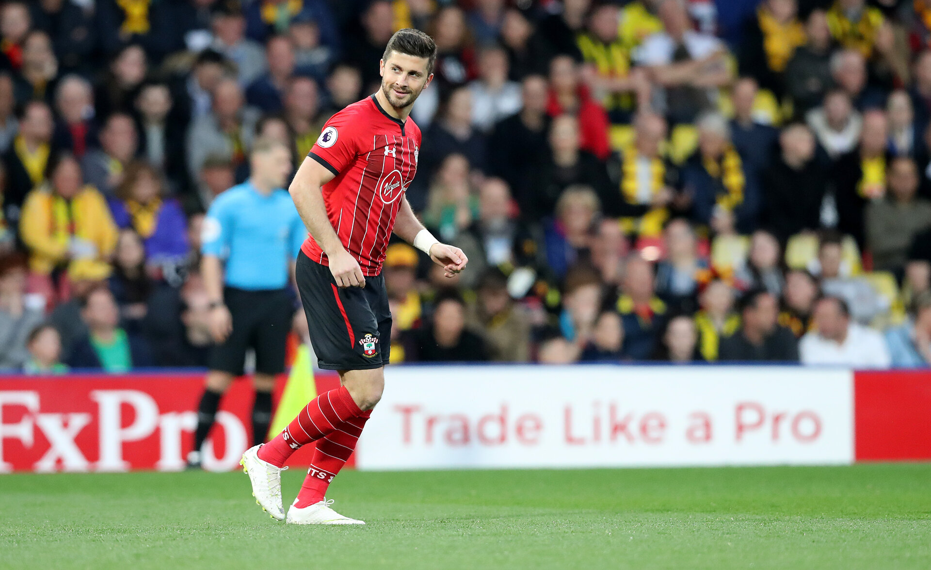 WATFORD, ENGLAND - APRIL 23: Shane Long of Southampton after opening the scoring during the Premier League match between Watford FC and Southampton FC at Vicarage Road on April 23, 2019 in Watford, United Kingdom. (Photo by Matt Watson/Southampton FC via Getty Images)