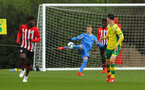 NORWICH, ENGLAND - APRIL 27: Jack Bycroft (middle) during a U18 Premier League match between Norwich City FC and Southampton FC pictured at Colney Training Ground on April 27, 2019 in Norwich, England. (Photo by James Bridle - Southampton FC/Southampton FC via Getty Images)