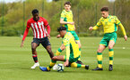 NORWICH, ENGLAND - APRIL 27: Rowland Idowu  (left) during a U18 Premier League match between Norwich City FC and Southampton FC pictured at Colney Training Ground on April 27, 2019 in Norwich, England. (Photo by James Bridle - Southampton FC/Southampton FC via Getty Images)