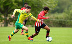 NORWICH, ENGLAND - APRIL 27: Caleb Watts (right) during a U18 Premier League match between Norwich City FC and Southampton FC pictured at Colney Training Ground on April 27, 2019 in Norwich, England. (Photo by James Bridle - Southampton FC/Southampton FC via Getty Images)