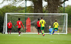 NORWICH, ENGLAND - APRIL 27: Jack Bycroft (right) as Southampton FC concede a goal during a U18 Premier League match between Norwich City FC and Southampton FC pictured at Colney Training Ground on April 27, 2019 in Norwich, England. (Photo by James Bridle - Southampton FC/Southampton FC via Getty Images)