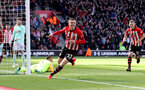 SOUTHAMPTON, ENGLAND - APRIL 27: Matt Targett of Southampton celebrates after putting his team 3-2 up during the Premier League match between Southampton FC and AFC Bournemouth at St Mary's Stadium on April 27, 2019 in Southampton, United Kingdom. (Photo by Matt Watson/Southampton FC via Getty Images)