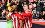 SOUTHAMPTON, ENGLAND - APRIL 27: Matt Targett of Southampton celebrates his goal during the Premier League match between Southampton FC and AFC Bournemouth at St Mary's Stadium on April 27, 2019 in Southampton, United Kingdom. (Photo by Matt Watson/Southampton FC via Getty Images)