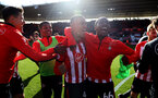 SOUTHAMPTON, ENGLAND - APRIL 27: L to R Mario Lemina, Yan Valery and Kayne Ramsay of Southampton during the Premier League match between Southampton FC and AFC Bournemouth at St Mary's Stadium on April 27, 2019 in Southampton, United Kingdom. (Photo by Matt Watson/Southampton FC via Getty Images)