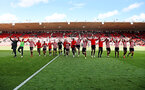 SOUTHAMPTON, ENGLAND - APRIL 27: Players and management of Southampton FC celebrate their premier league status during the Premier League match between Southampton FC and AFC Bournemouth at St Mary's Stadium on April 27, 2019 in Southampton, United Kingdom. (Photo by Matt Watson/Southampton FC via Getty Images)