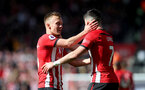 SOUTHAMPTON, ENGLAND - APRIL 27: James Ward-Prowse(L) and Shane Long of Southampton during the Premier League match between Southampton FC and AFC Bournemouth at St Mary's Stadium on April 27, 2019 in Southampton, United Kingdom. (Photo by Matt Watson/Southampton FC via Getty Images)