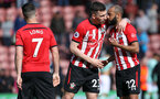 SOUTHAMPTON, ENGLAND - APRIL 27: L-R, Shane Long, Pierre-Emile Hojbjerg and Nathan Redmond during the Premier League match between Southampton FC and AFC Bournemouth at St Mary's Stadium on April 27, 2019 in Southampton, United Kingdom. (Photo by Chris Moorhouse/Southampton FC via Getty Images)