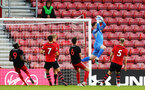 SOUTHAMPTON, ENGLAND - APRIL 29: Harry Lewis  makes a save for Southampton FC  during the Premier League 2 match between Southampton FC and Sunderland pictured at St Mary's Stadium on April 29, 2019 in Southampton, England. (Photo by James Bridle - Southampton FC/Southampton FC via Getty Images)
