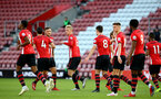 SOUTHAMPTON, ENGLAND - APRIL 29: Christoph Klarer celebrated with the team (middle) during the Premier League 2 match between Southampton FC and Sunderland pictured at St Mary's Stadium on April 29, 2019 in Southampton, England. (Photo by James Bridle - Southampton FC/Southampton FC via Getty Images)
