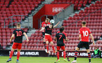 SOUTHAMPTON, ENGLAND - APRIL 29: Aaron O'Driscoll  heads the ball towards goal (middle)  during the Premier League 2 match between Southampton FC and Sunderland pictured at St Mary's Stadium on April 29, 2019 in Southampton, England. (Photo by James Bridle - Southampton FC/Southampton FC via Getty Images)