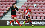 SOUTHAMPTON, ENGLAND - APRIL 29: Tyreke Johnson (right) during the Premier League 2 match between Southampton FC and Sunderland pictured at St Mary's Stadium on April 29, 2019 in Southampton, England. (Photo by James Bridle - Southampton FC/Southampton FC via Getty Images)