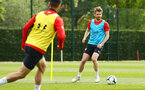 SOUTHAMPTON, ENGLAND - MAY 02:  Stuart Armstrong (right) during a Southampton FC training session pictured at Staplewood Complex on May 2, 2019 in Southampton, England. (Photo by James Bridle - Southampton FC/Southampton FC via Getty Images)