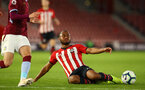 SOUTHAMPTON, ENGLAND - MAY 03: Tyreke Johnson shirt is tackled resulting in a freekick (right) during the U23s PL2 Play off Semi-Final between Southampton FC and Aston Villa FC pictured at St Mary's Stadium on May 03, 2019 in Southampton, England. (Photo by James Bridle - Southampton FC/Southampton FC via Getty Images)