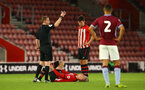 SOUTHAMPTON, ENGLAND - MAY 03: LtoR Christoph Klarer is injured (left) during the U23s PL2 Play off Semi-Final between Southampton FC and Aston Villa FC pictured at St Mary's Stadium on May 03, 2019 in Southampton, England. (Photo by James Bridle - Southampton FC/Southampton FC via Getty Images)