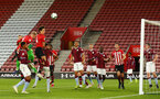 SOUTHAMPTON, ENGLAND - MAY 03: LtoR Christoph Klarer and Alfie Jones both jump for the header during the U23s PL2 Play off Semi-Final between Southampton FC and Aston Villa FC pictured at St Mary's Stadium on May 03, 2019 in Southampton, England. (Photo by James Bridle - Southampton FC/Southampton FC via Getty Images)