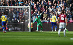 LONDON, ENGLAND - MAY 04: West Ham score their third goal during the Premier League match between West Ham United and Southampton FC at the London Stadium on May 04, 2019 in London, United Kingdom. (Photo by Matt Watson/Southampton FC via Getty Images)