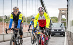 Former Southampton footballer Francis Benali on the fourth day of his epic IronFran challenge to raise £1m for Cancer Research UK. Franny is taking on 7 Iron Man distance triathlons in 7 days. Franny crossing clifton suspension bridge.