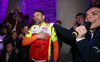 Francis Benali's IronFran challenge for Cancer Research UK. Franny receives a heroes welcome in Southampton's Guildhall Square after completing his challenge.