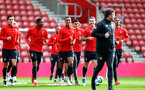 SOUTHAMPTON, ENGLAND - MAY 08: Players warm up during a Southampton FC open training session at St Mary's Stadium on May 08, 2019 in Southampton, England. (Photo by Matt Watson/Southampton FC via Getty Images)
