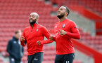SOUTHAMPTON, ENGLAND - MAY 08: Nathan Redmond(L) and Ryan Bertrand during a Southampton FC open training session at St Mary's Stadium on May 08, 2019 in Southampton, England. (Photo by Matt Watson/Southampton FC via Getty Images)