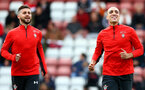 SOUTHAMPTON, ENGLAND - MAY 08: Shane Long(L) and Oriol Romeu during a Southampton FC open training session at St Mary's Stadium on May 08, 2019 in Southampton, England. (Photo by Matt Watson/Southampton FC via Getty Images)