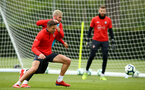 SOUTHAMPTON, ENGLAND - MAY 09: LtoR Jan Bednarek, Charlie Austin during a Southampton FC training session pictured at Staplewood Training Ground on May 9, 2019 in Southampton, England. (Photo by James Bridle - Southampton FC/Southampton FC via Getty Images)