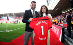 """SOUTHAMPTON, ENGLAND - MAY 12: Former Saints player Francis Benali(L) with daughter Kenzie Benali after he completed his """"Iron Fran"""" challenge raising £1m for Cancer Research UK during the Premier League match between Southampton FC and Huddersfield Town at St Mary's Stadium on May 12, 2019 in Southampton, United Kingdom. (Photo by Matt Watson/Southampton FC via Getty Images)"""