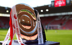 SOUTHAMPTON, ENGLAND - MAY 13: Premier League 2 trophy on display outside the tunnel ahead of the U23s PL2 Play off final between Southampton and Newcastle United pictured at St. Mary's Stadium on May 13, 2019 in Southampton, England. (Photo by James Bridle - Southampton FC/Southampton FC via Getty Images)