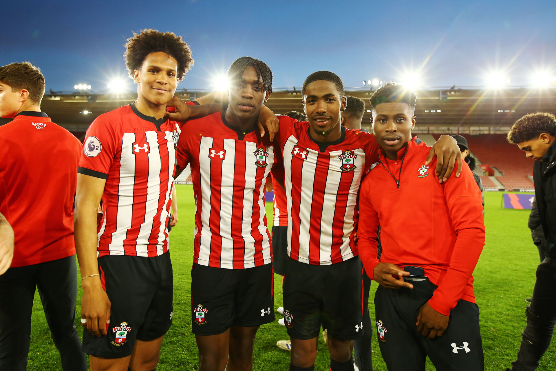 SOUTHAMPTON, ENGLAND - MAY 13: LtoR Oludare Olufunwa, Dan Nlundulu, Kayne Ramsay, Nathan Tella during the U23s PL2 Play off final between Southampton and Newcastle United pictured at St. Mary's Stadium on May 13, 2019 in Southampton, England. (Photo by James Bridle - Southampton FC/Southampton FC via Getty Images)
