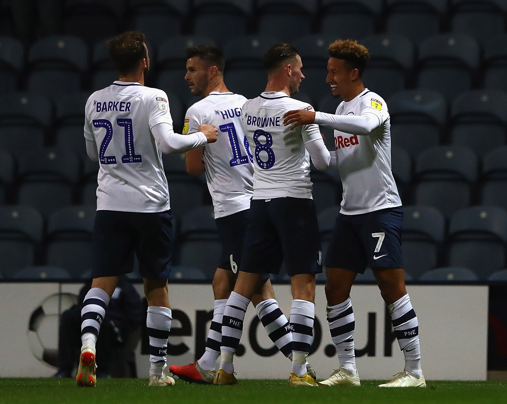 PRESTON, ENGLAND - SEPTEMBER 25:  Callum Robinson of Preston North End is congratulated on his goal during the Carabao Cup Third Round match between Preston North End and Middlesbrough at Deepdale on September 25, 2018 in Preston, England.  (Photo by Matthew Lewis/Getty Images)